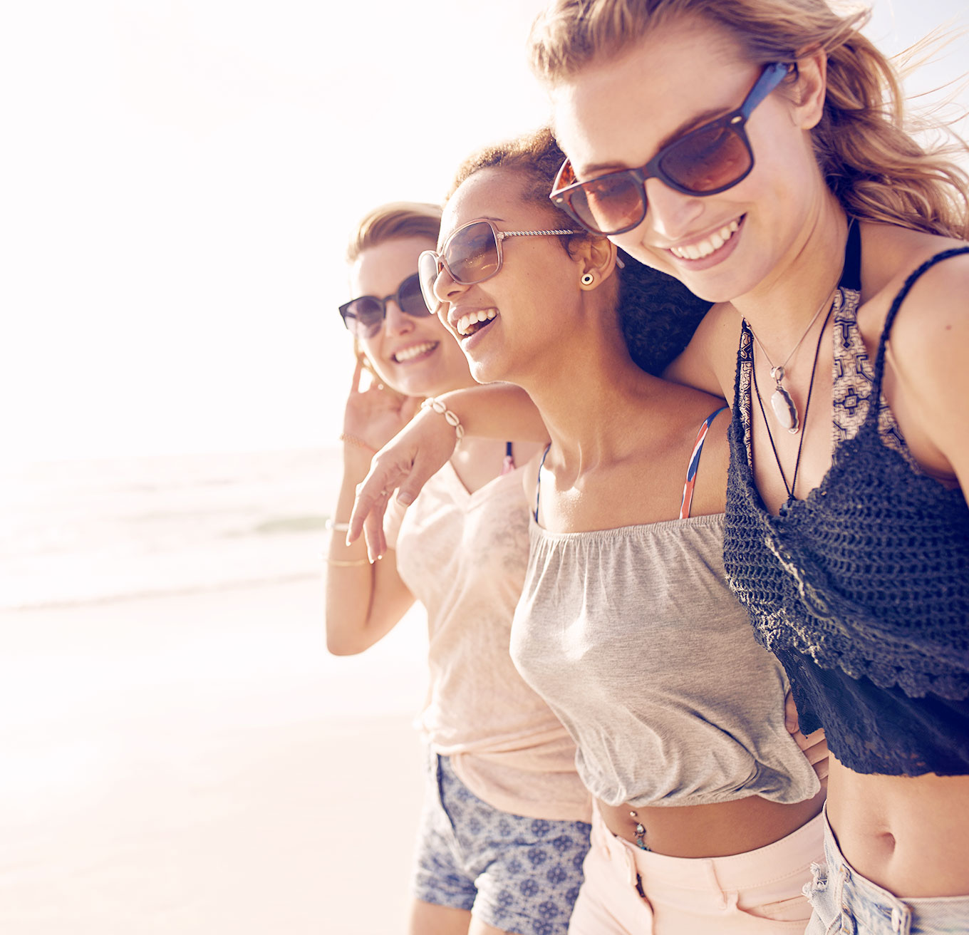 Three Girl Friends Smiling